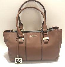 Calvin Klein Caitlin Double ZIPPED Chestnut Faux Leather Satchel Bag With TG