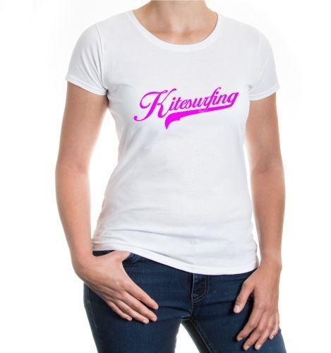 Damen Kurzarm Girlie T-Shirt Kitesurfing Logo Kitesurfen Kitesurfer Wakeboard