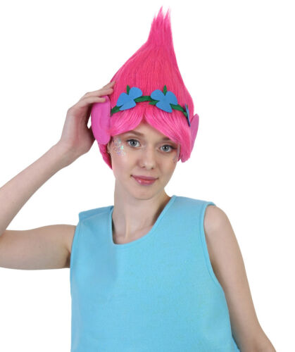 Trolls Poppy Princess Pink Wig with Ears Headband Cosplay Funcy Dress HW-2704