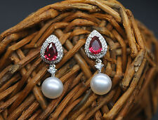 White Pearl Freshwater CZ 925 Sterling Silver  Earrings At27 New