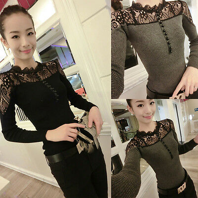 Womens Lace Splicing Shirt Long Sleeve Sexy Slim Pullover Tops Blouse Stylish