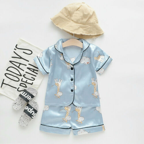 Details about  /Toddler Kids Baby Boy Girl Cute Pajamas Sleepwear T Shirt Shorts Clothes Outfits