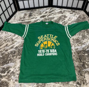 vintage 1979 SEATTLE SUPERSONICS world champions The Wizard Gus Williams basketball youth size large women/'s extra small SONICS t-shirt