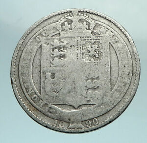 1887-UK-Great-Britain-United-Kingdom-QUEEN-VICTORIA-Silver-Shilling-Coin-i79661
