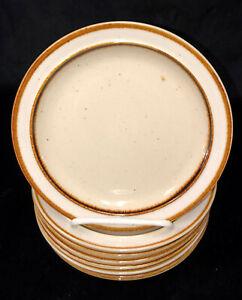 "8 Sango Rainbow Stoneware *CAPRI* BROWN* 7 1/4"" SALAD/DESSERT PLATES* 651"