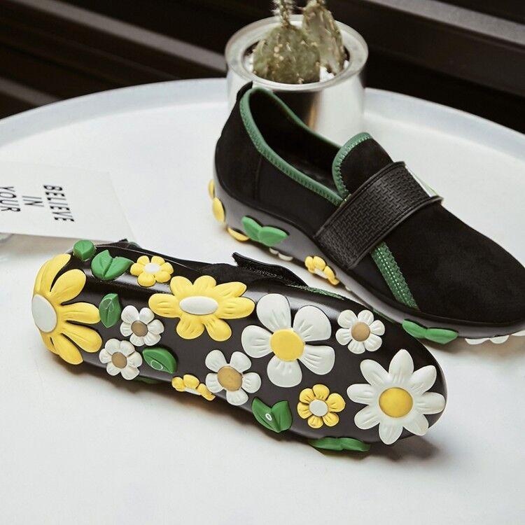 Diseño De Flores 3D 3D 3D De Mujer Taco Plano Punta rojoonda Mocasines Zapatos Hebilla De Gamuza Slip On  100% a estrenar con calidad original.