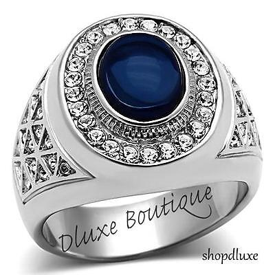 MEN'S OVAL CUT DARK BLUE MONTANA DOME STONE SILVER STAINLESS STEEL RING SZ 8-14