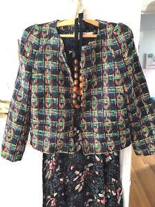 Lady Nwt Coco L Work Skulder Zara Beskær Multicolor Tweed Pad Plaid Jacket Vævet BxrrYq7X