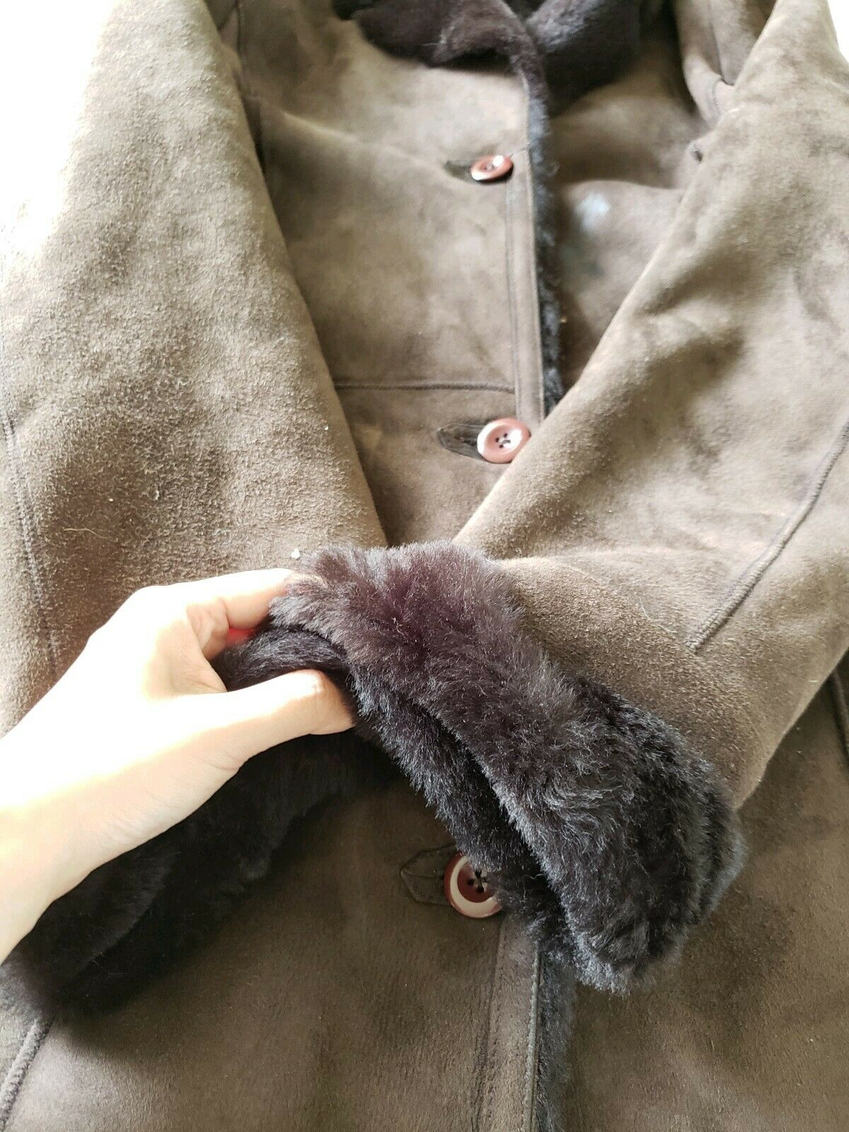 The Limited genuine full length shearling coat sl… - image 4