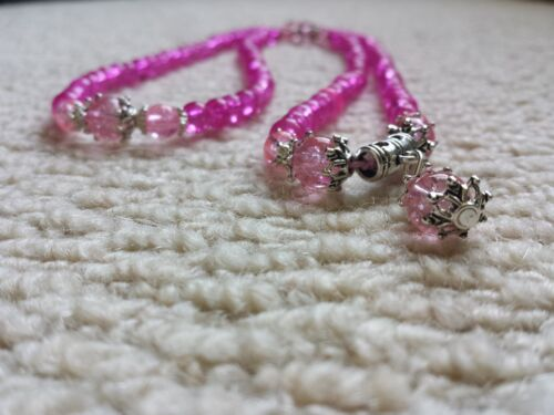 Pouch Buddhist Meditation Yoga Pink Crystal 108 Mala Flex Bracelet//Necklace
