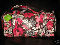 Vera Bradley Mocha Rouge Small Duffel Travel Carryon Bag Rare