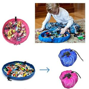 Small Baby Kids Portable Play Mat Easy Tidy Up Bin Toy Storage Bag Organizer