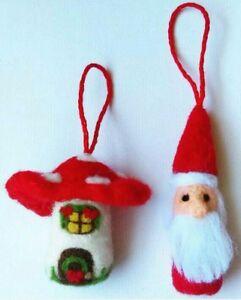 Details About Needle Felted Gnome Santa Mushroom Christmas Ornament Set