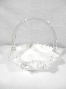 Beautiful-FENTON-Milk-Glass-Basket-w-Silver-Crest-Ruffled-Edge-Clear-Handle
