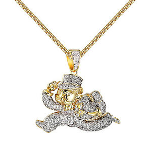 Monopoly man pendant 14k yellow gold finish iced out simulated image is loading monopoly man pendant 14k yellow gold finish iced aloadofball Choice Image