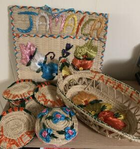 Straw Jamaica Coasters \u2013 Set of 6 Round Woven Floral Coasters \u2013 Vintage Jamaica Souvenir Beverage Coasters