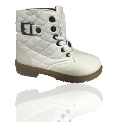 WOMENS FLAT GRIP SOLE FUR LINE LADIES WINTER ARMY COMBAT ANKLE BOOTS SHOES SIZE