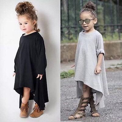 Baby Girls Kid Summer Dress Swing Max Batwing Full Dress Loose Asymmetric Dress