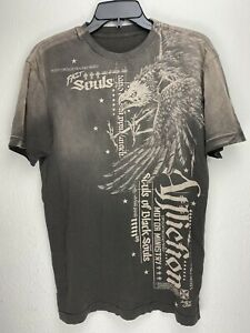 Affliction-Short-Sleeve-T-Shirt-Mens-Brown-Size-M