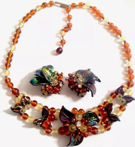 VINTAGE-ORNATE-GLASS-CELLULOID-NECKLACE-amp-MATCHING-CLIP-ON-EARRINGS-GIFT-BOXED