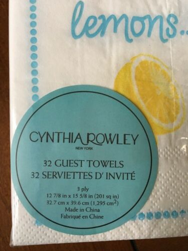 32 Guest Towels//Dinner Buffet Napkins Cynthia Rowley  /& Nicole Miller  Choice Of