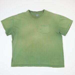 Destroyed-Sun-Faded-Plain-Pocket-T-Shirt-Distress-Grunge-Workwear-Chore-Green-XL