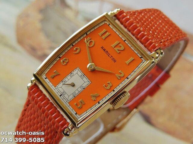 1941 Vintage HAMILTON MYRON, Stunning orange Dial, Serviced, 1 Year warranty
