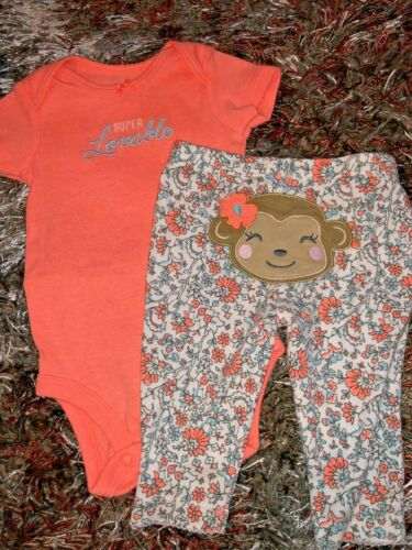 BABY GIRLS 3 MONTHS SUPER LOVABLE TWO PIECE OUTFIT NEON ORANGE MONKEY FLOWERS