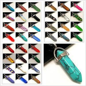 Natural-Gemstones-Hexagonal-Pointed-Reiki-Chakra-Pendant-Beads-Healing-Necklace