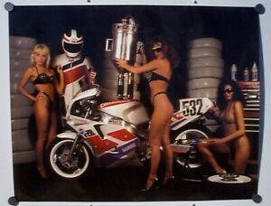 Vintage Rad N Bad Poster Yamaha FZR Superbike Cyclecraft Girls 1992