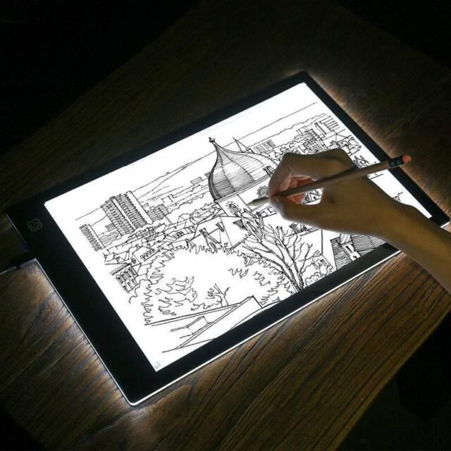 A4 LED Art Stencil Board Light Box USB Tracing Drawing Table Adjustable Base Pad