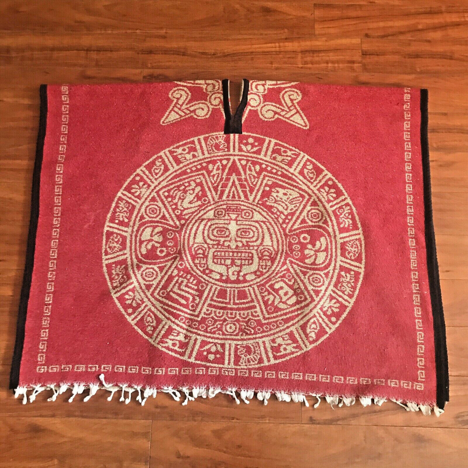 HEAVY PONCHO Gaban BLANKET Mexican TRIBAL Calendario Azteca Red White ONE SIZE
