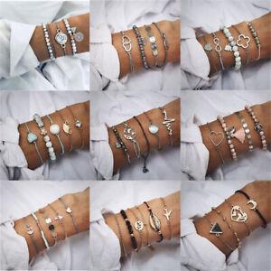 Women-Tassels-Rhinestone-Beaded-Gold-Silver-Bracelets-Bangle-Chain-Cuff-Jewelry
