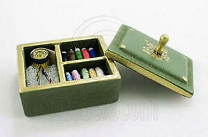 Wooden-Green-Sewing-Knitting-Tool-Box-Kits-1-12-Doll-039-s-House-Dollhouse-Miniature