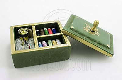 Wooden Green Sewing Knitting Tool Box Kits 1:12 Doll's House Dollhouse Miniature