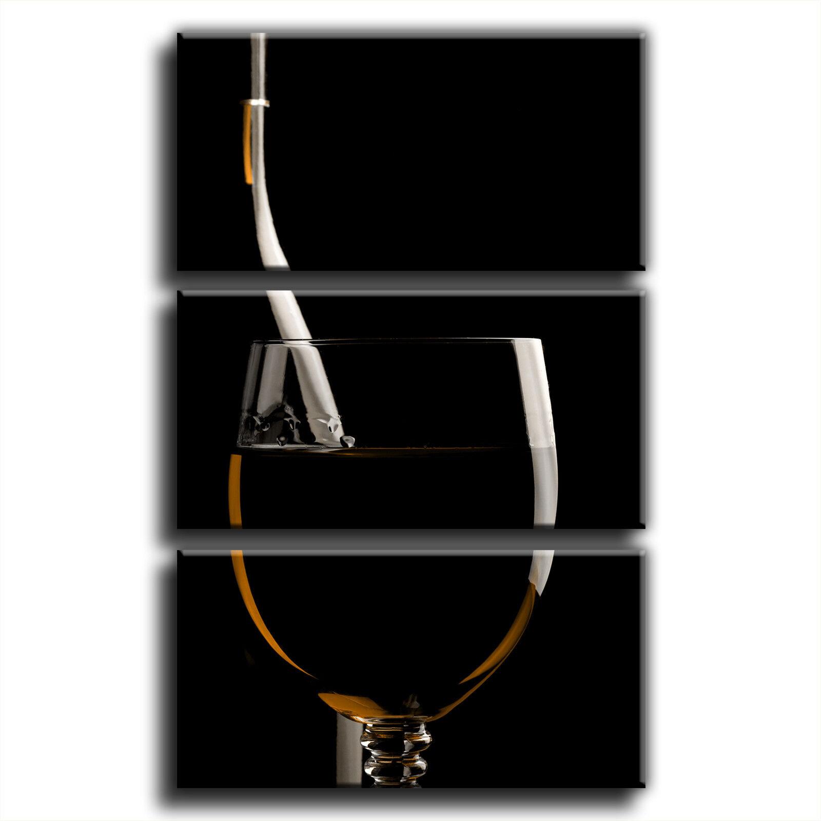Verre à vin & bouteille toile art imprimé treble treble treble triptych boîte encadrée photo 7 | Soldes  551846