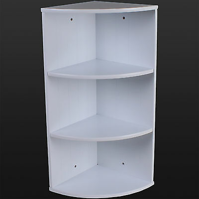 Bathroom Corner Shelving Storage Unit Wooden Shelves White Wall Mountable Unit
