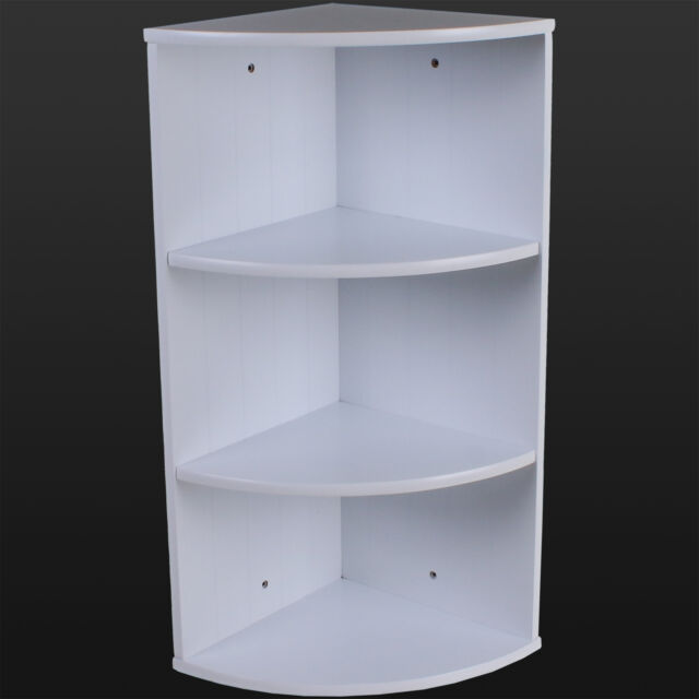 Bathroom Corner Shelving Storage Unit Wooden Shelves White Wall Mountable