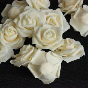 50pcs Wholesale Lots Roses Artificial Silk Flower Heads Wedding