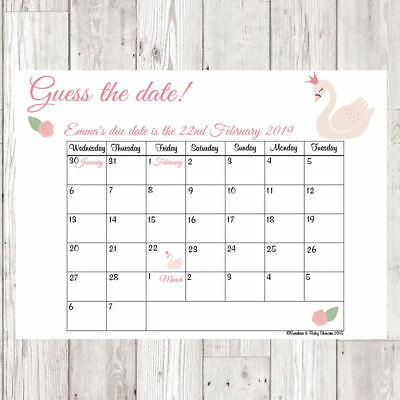 Pink /& Blue Guess the Date and Weight Baby Shower Game keepsake