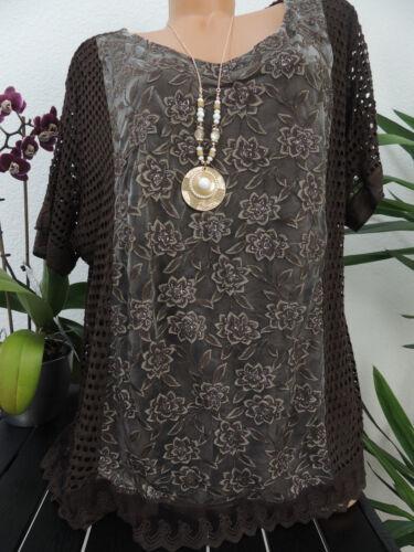 Damen Bluse Größe 44 46 48 Übergröße Tunika Blusen Shirt Muster Spitze 125