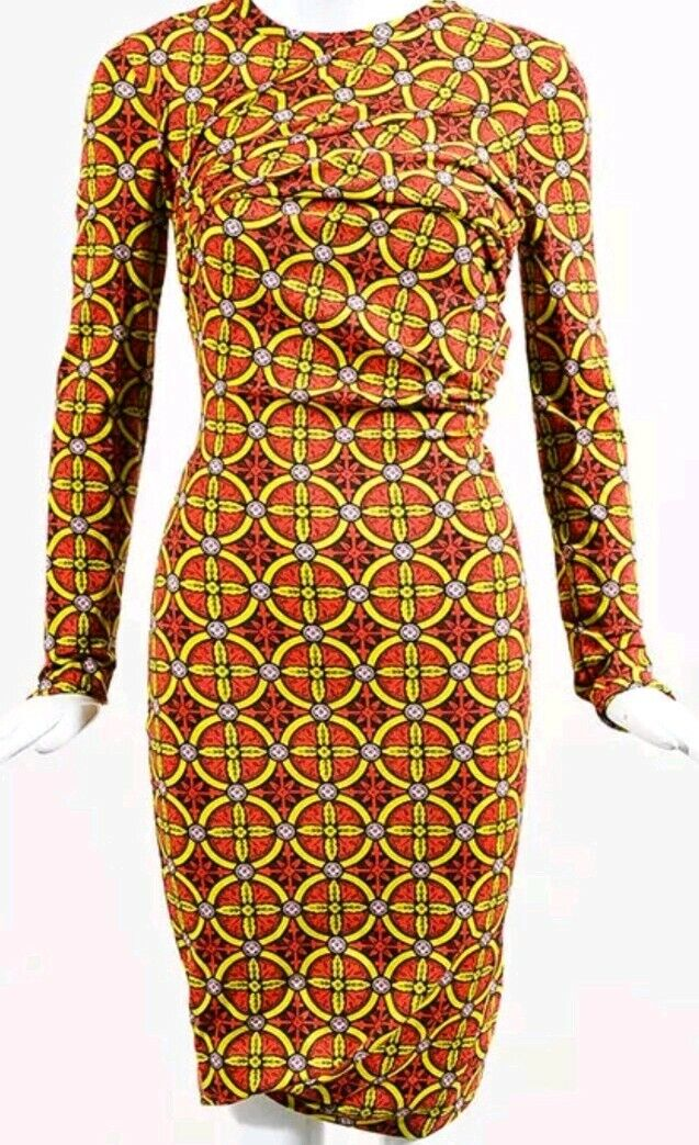 Carven MultiFarbe Stretch Knit Stained Glass Printed LS Bodycon Dress SZ M