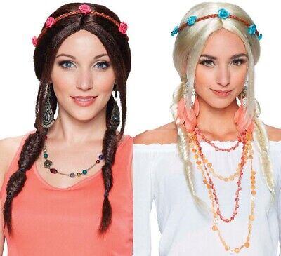 Damen Braun Oder Blond Geflochten 1960er Jahre Hippie Hippy Perücke Kostüm Kleid