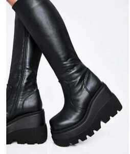 Women-039-s-Black-Wedge-Platform-Knee-High-Boot-Goth-Punk-Lolita-Festival-SHAKE