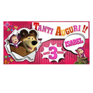 Striscione-Banner-COMPLEANNO-PERSONALIZZATO-MASHA-ORSO-Feste-Compleanno-Eventi