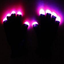 Black 1 Pair LED Rave Flashing Gloves Glowing 6 Mode Light Up Finger Lighting