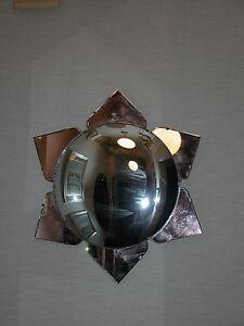 Art Deco Mirror W Large Convex Center Glass Amp Peach