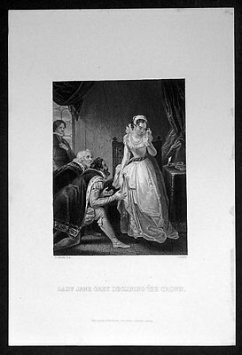 1860 London Printing Co Antique Print Of Lady Jane Grey Declining The Crown Decorative Arts