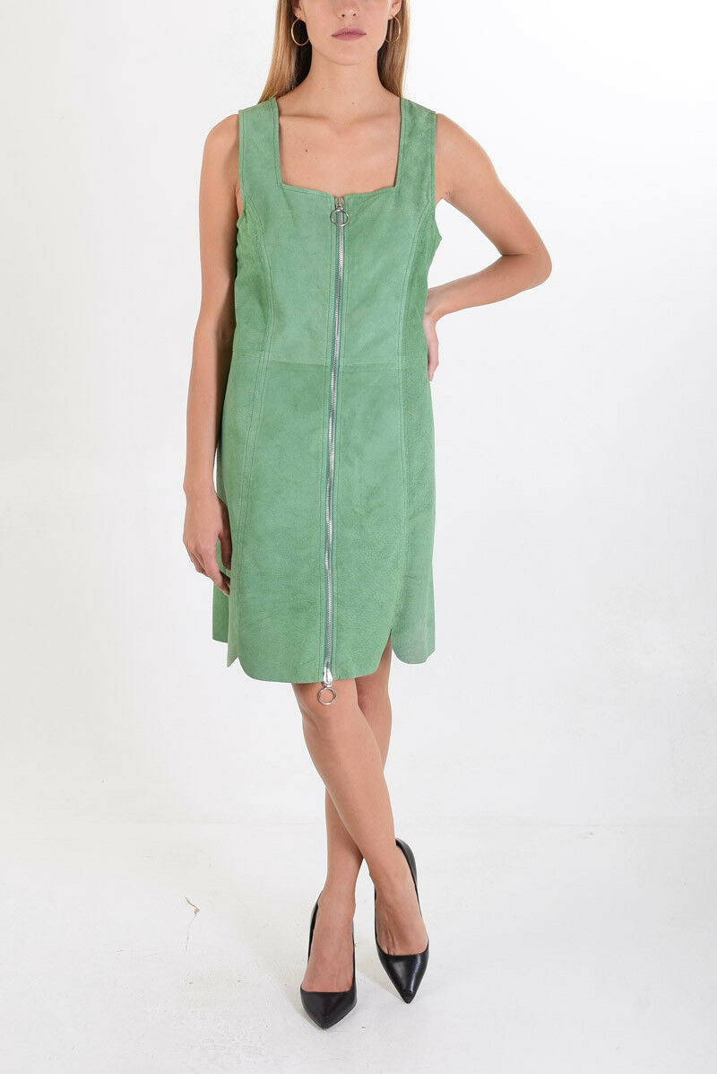 DROME New Woman Grün Palm Leather Sleeveless Shift Knee Dress Größe S