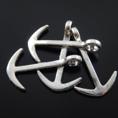 40PCS Antiqued Silver Vintage Alloy Classic Anchor Pendant Charms 30*17mm